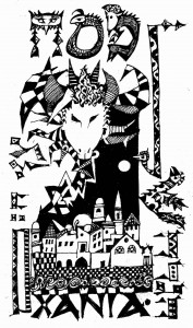 Pesah. Pen and Ink drawing by Nikos Stavroulakis, copyright 2002.