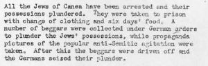 United States Office of Strategic Services (OSS) report on the arrest of the Jews of Hania, 25 May 1944.