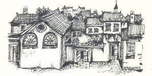 Etz Hayyim Synagogue Hania, drawing Nikos Stavroulakis.