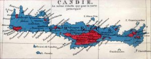 Map of Crete, 1861 showing distribution of Cretan Muslims (red) and Christians (blue).