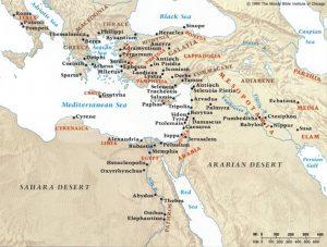 Main locations of Jewish Diaspora, 1st century CE