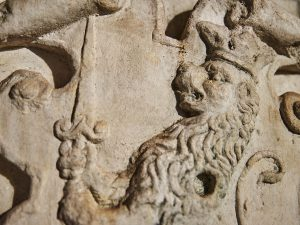 Detail of copy of Saltiel coat of arms at Etz Hayyim Synagogue.